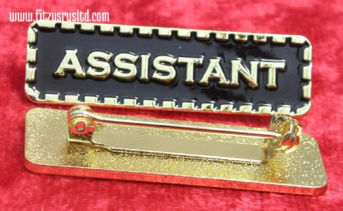 Assistant Lapel Pin Badge Black & Gold Colour Sign Metal Brooch